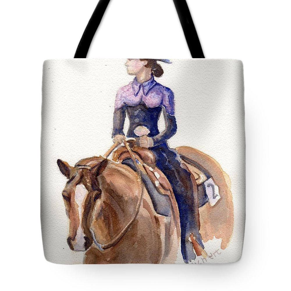 Horse Art Tote Bag featuring the painting Horse Painting Cowgirl Courage by Maria's Watercolor