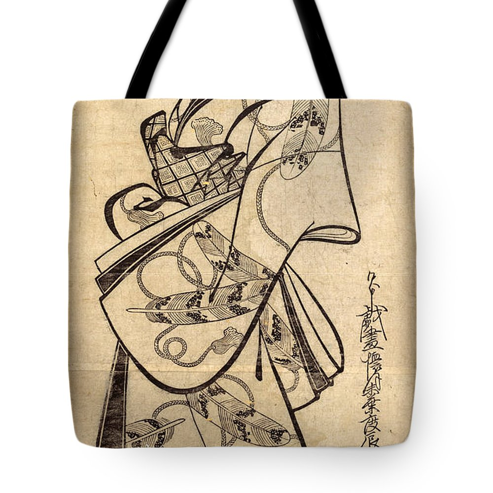 Kaigetsudo Doshin Tote Bag featuring the drawing Courtesan For The Ninth Month by Kaigetsudo Doshin