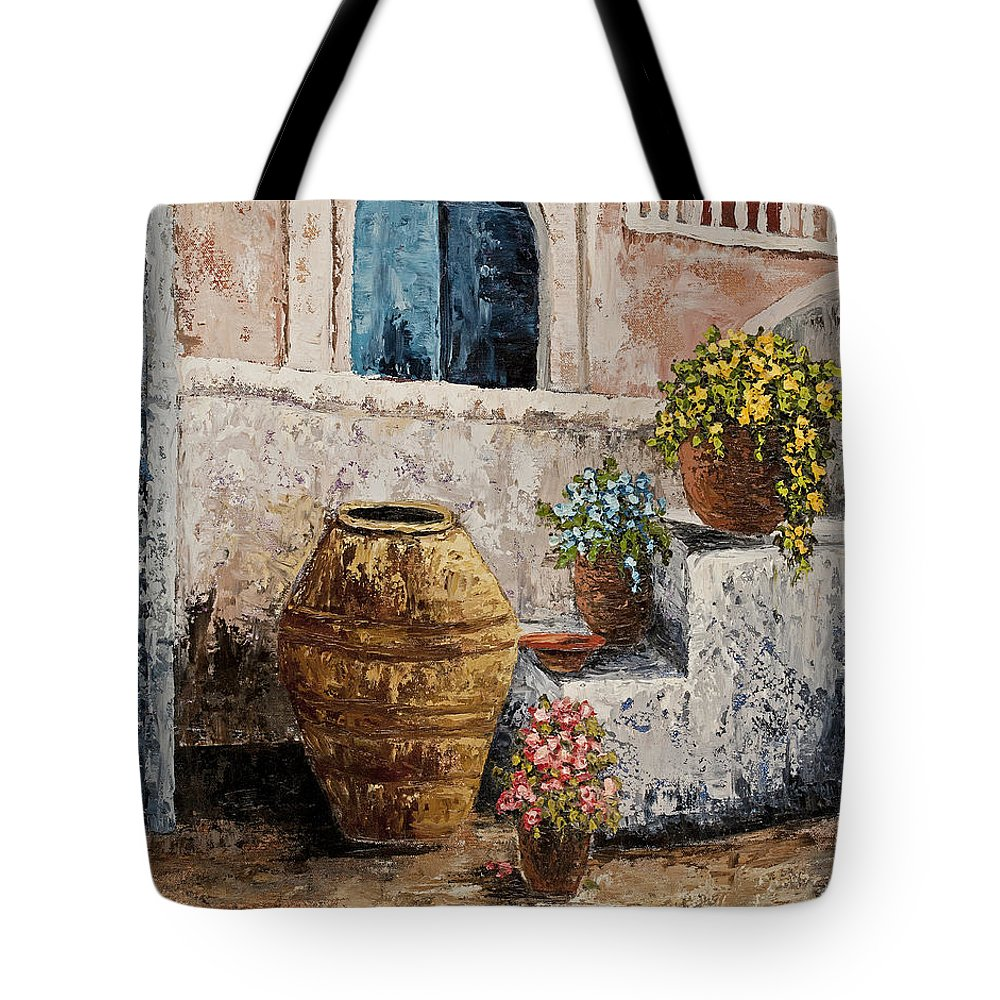 Courtyard Tote Bag featuring the painting Courtyard 2 by Darice Machel McGuire