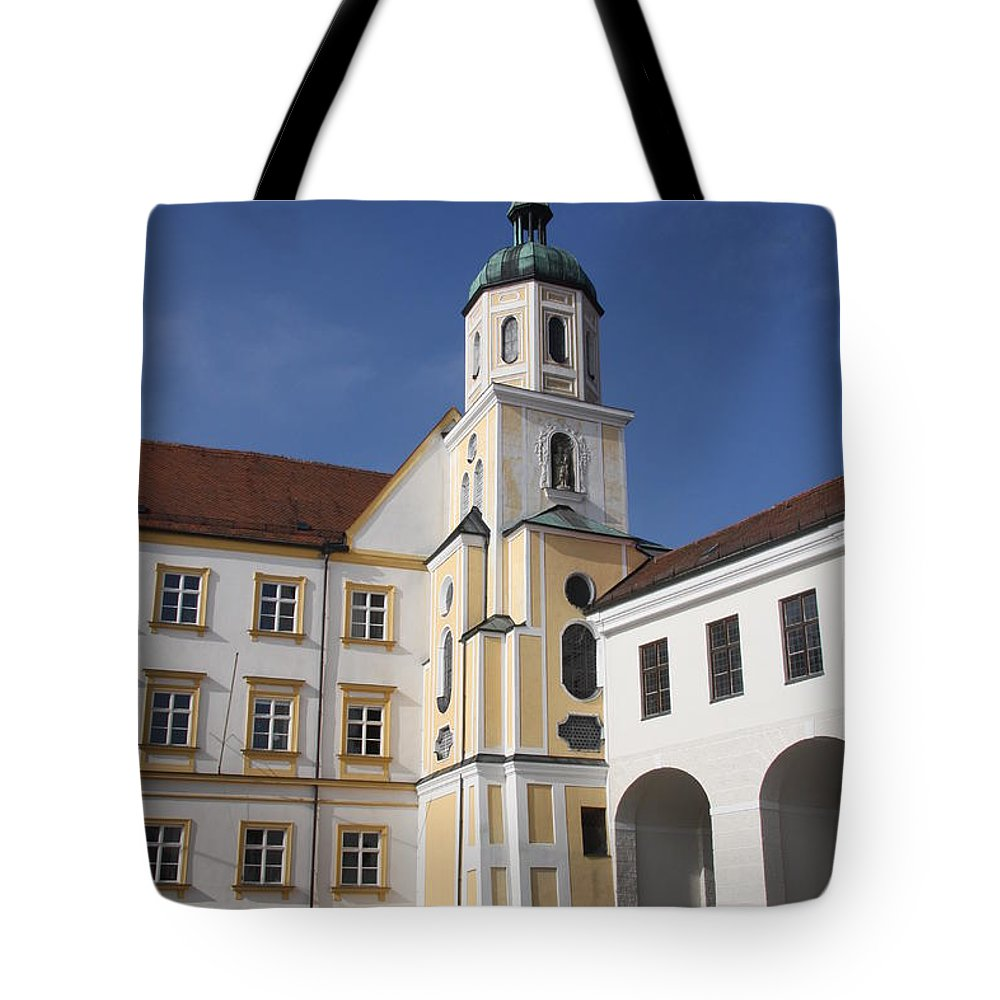 Courtyard Tote Bag featuring the photograph Courtyard - Bishops Church Fresising by Christiane Schulze Art And Photography