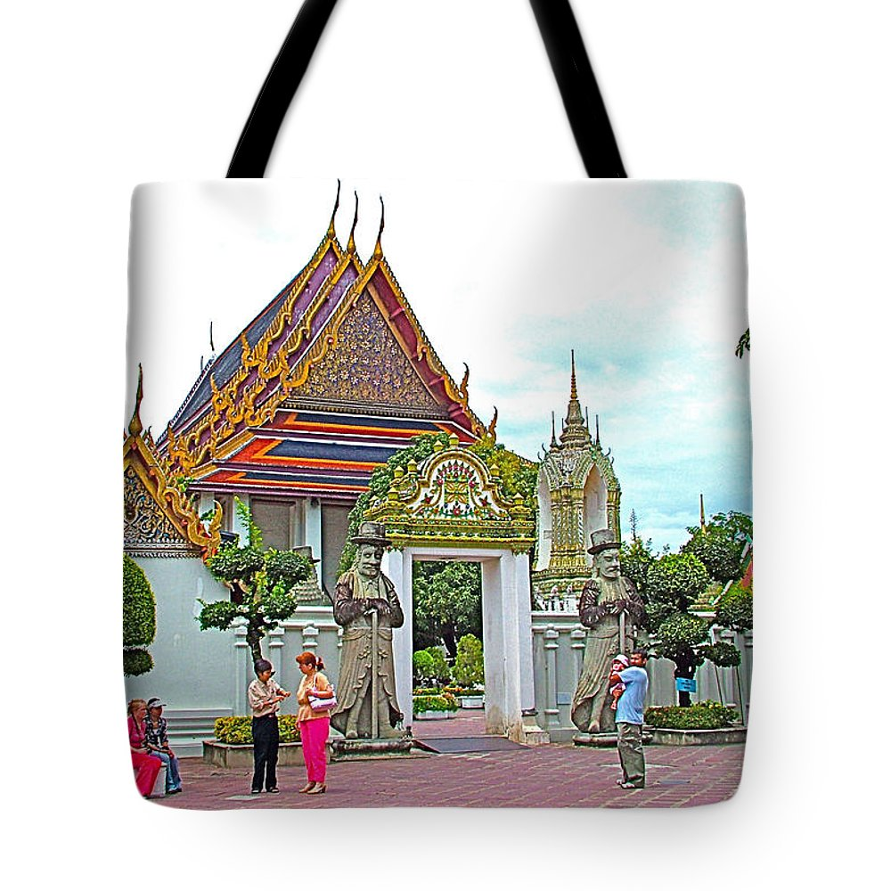 Courtyard In Wat Po In Bangkok Tote Bag featuring the photograph Courtyard In Wat Po In Bangkok-thailand by Ruth Hager