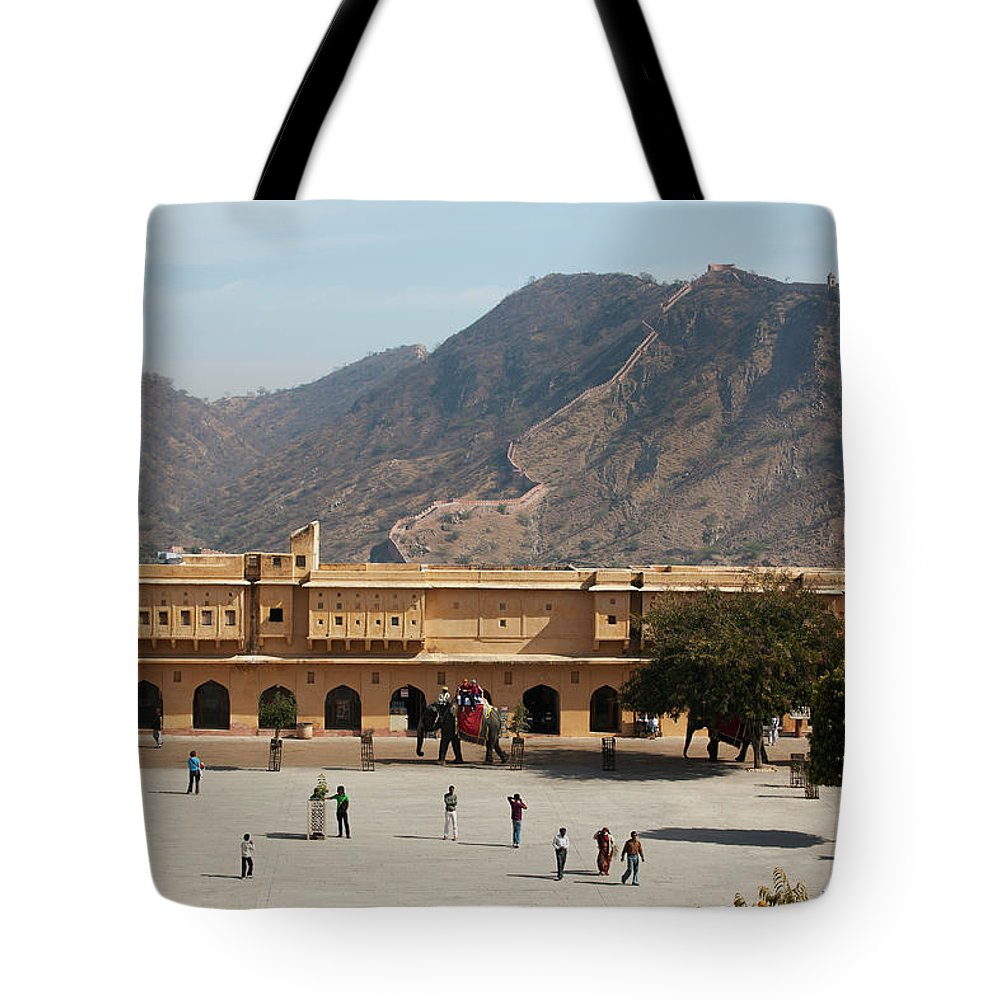 Shadow Tote Bag featuring the photograph Courtyard Of Amer Fort, Rajasthan by Bjarte Rettedal