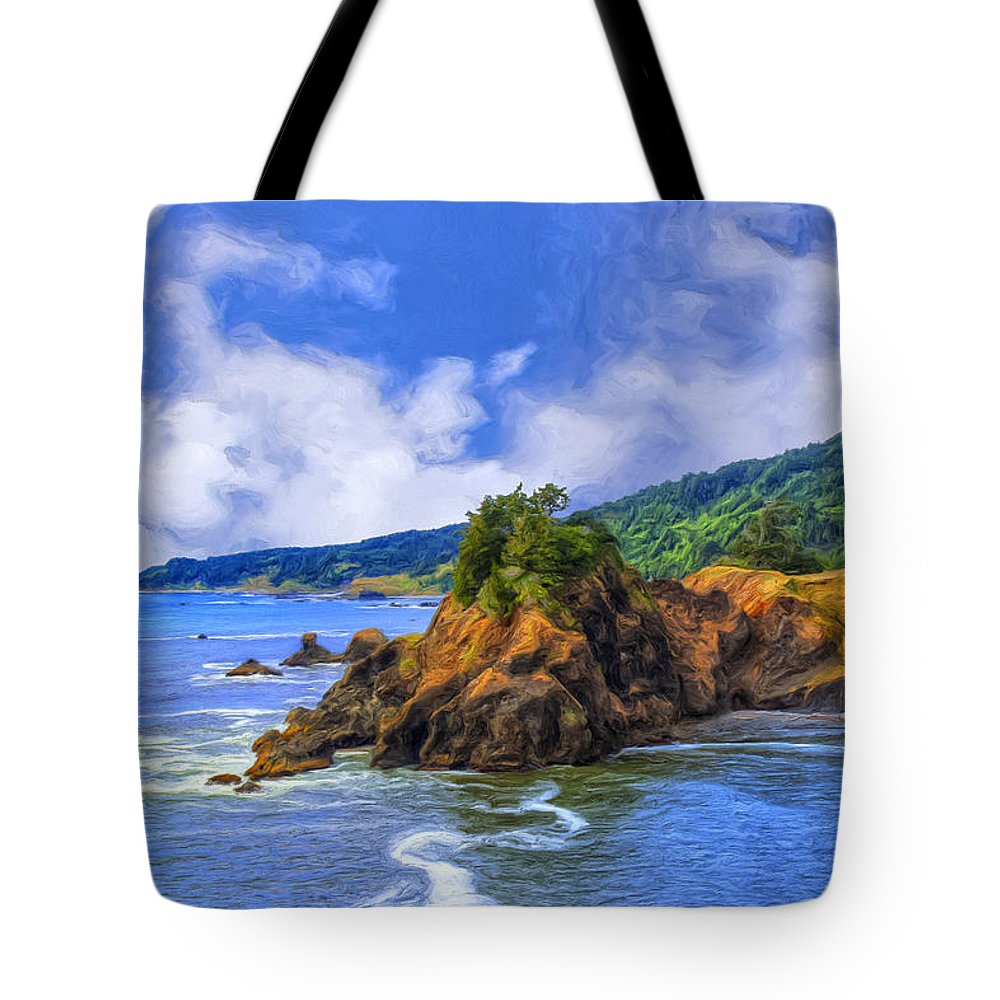 Cove Tote Bag featuring the painting Cove On The Oregon Coast by Dominic Piperata