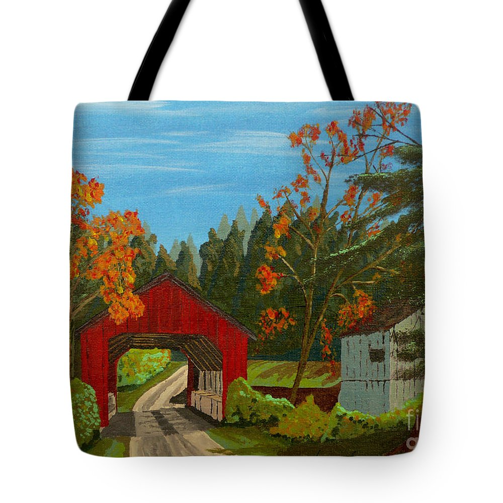 Path Tote Bag featuring the painting Covered Bridge by Anthony Dunphy