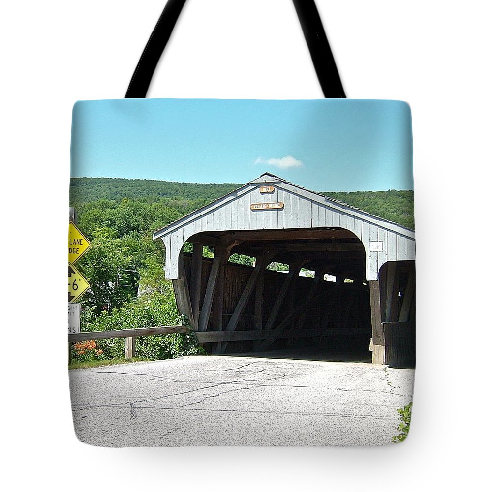 Vermont Tote Bag featuring the photograph Covered Bridge For Pedestrians by Susan Wyman