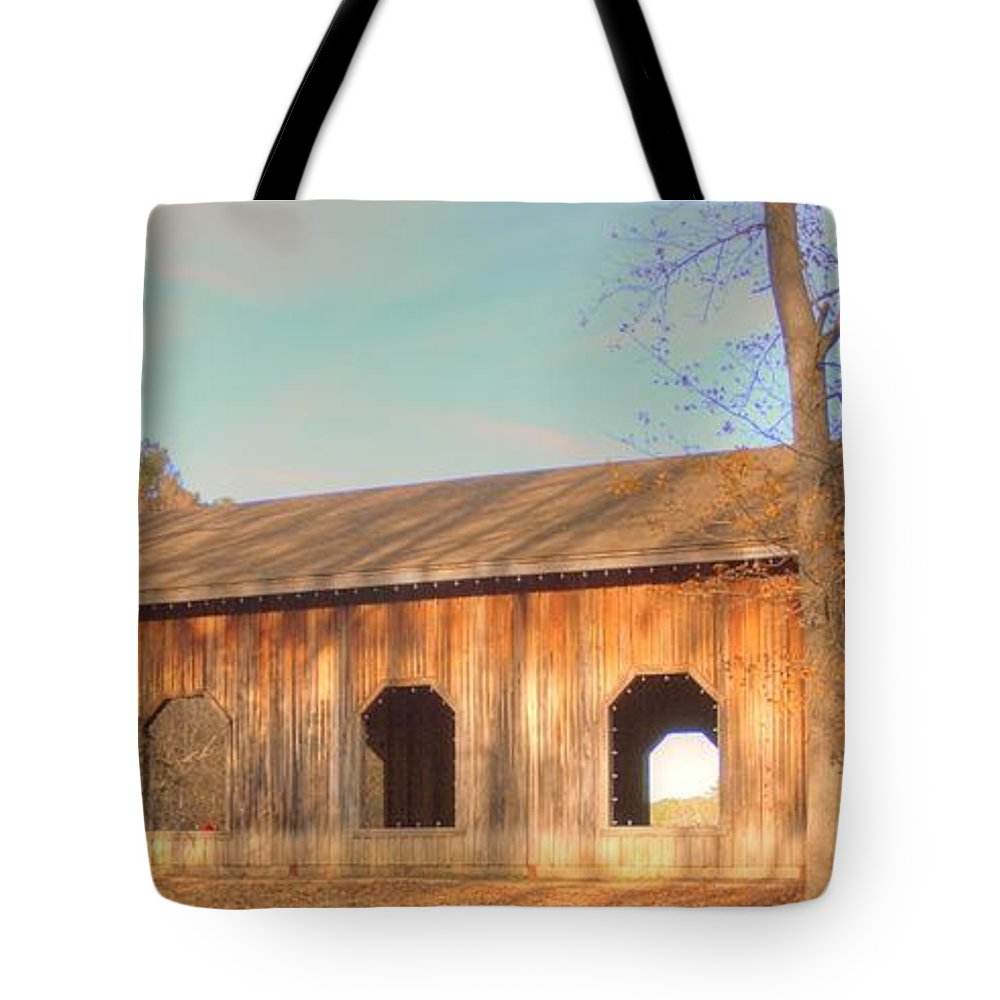 Covered Bridge Tote Bag featuring the photograph Covered Bridge In Augusta Ga by Linda Covino