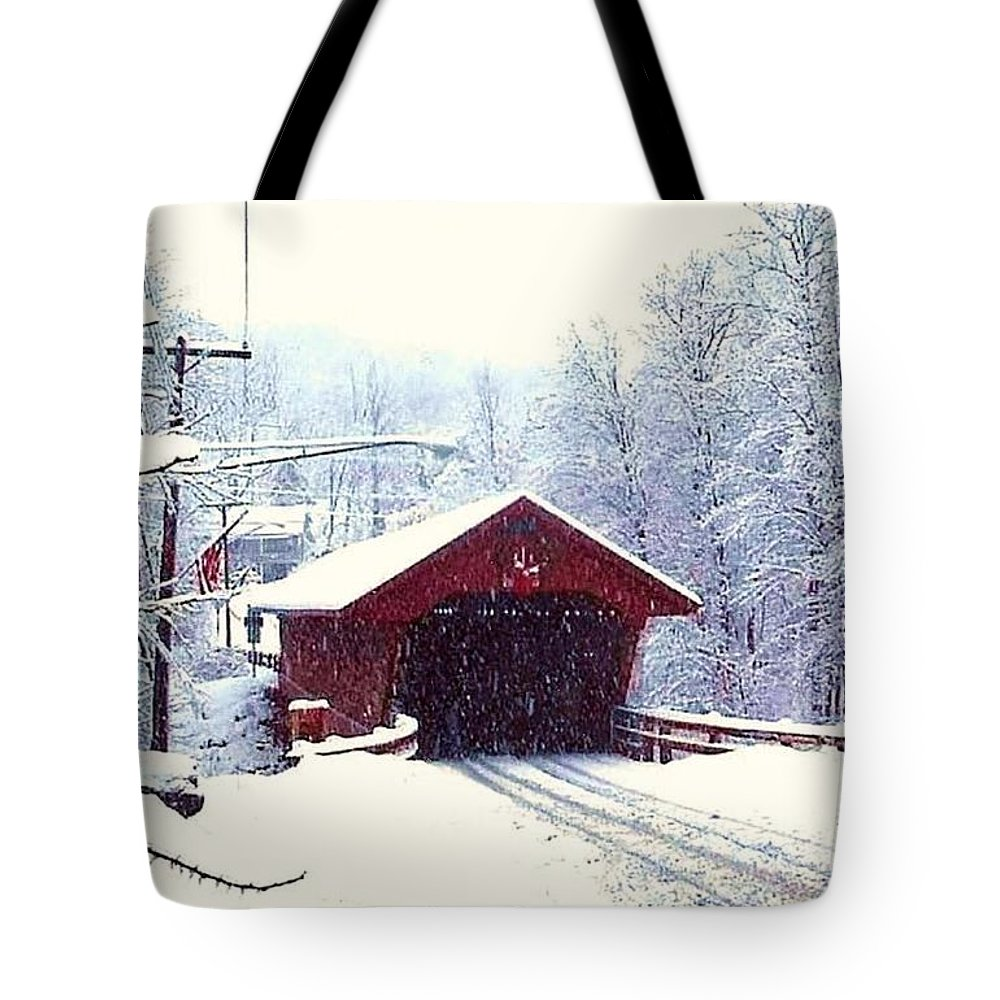 Newfield New York Tote Bag featuring the photograph Covered Bridge In Winter by Jo-Ann Hayden
