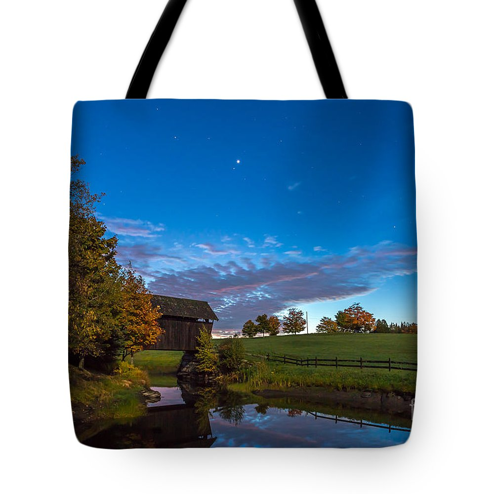 America Tote Bag featuring the photograph Covered Bridge Under A Vermont Sky by Susan Cole Kelly