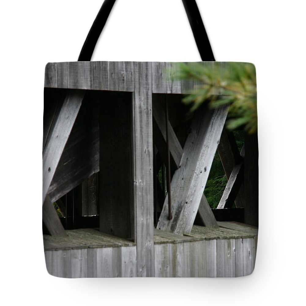 Covered Bridge Tote Bag featuring the photograph Covered Bridge Windows by Denyse Duhaime