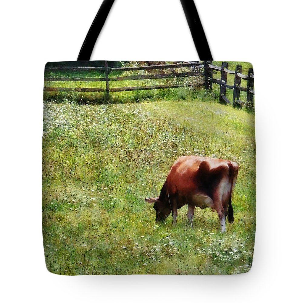 Cow Tote Bag featuring the photograph Cow Grazing In Pasture by Susan Savad