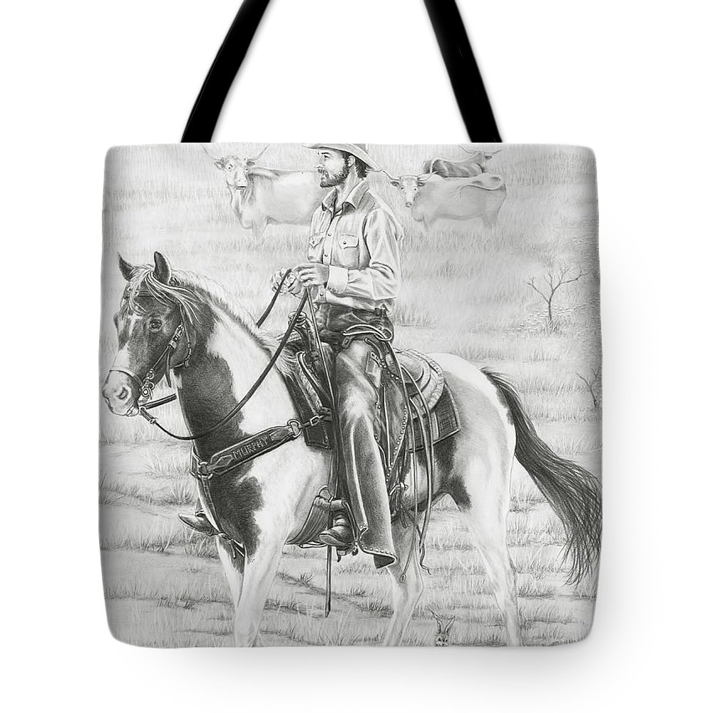 Cowboy Tote Bag featuring the drawing Cowboy And Horse No Fences by Murphy Elliott