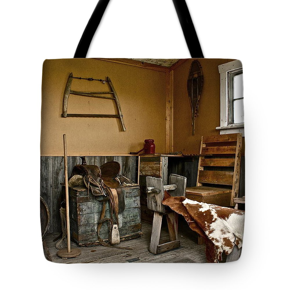Cabin Tote Bag featuring the photograph Cowboy Corner by Linda Bianic