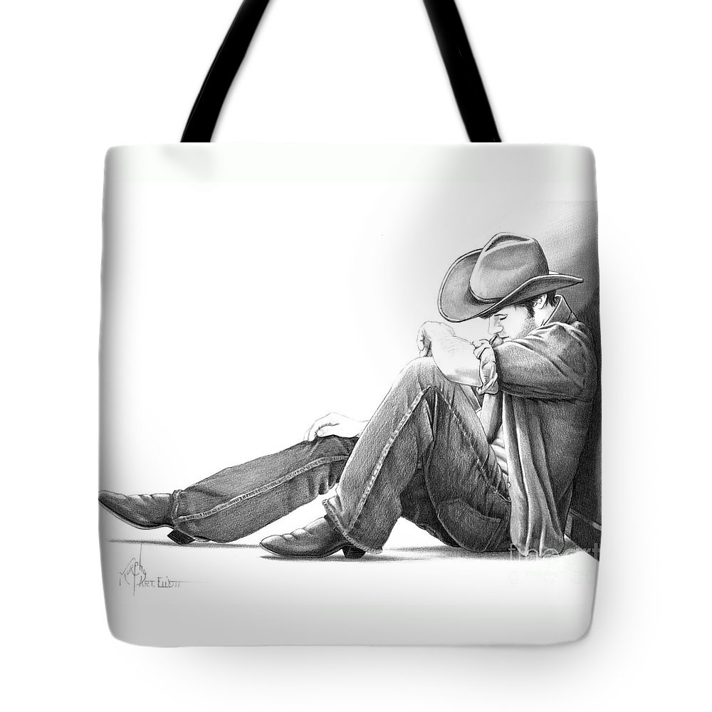 Pencil Tote Bag featuring the drawing Cowboy by Murphy Elliott