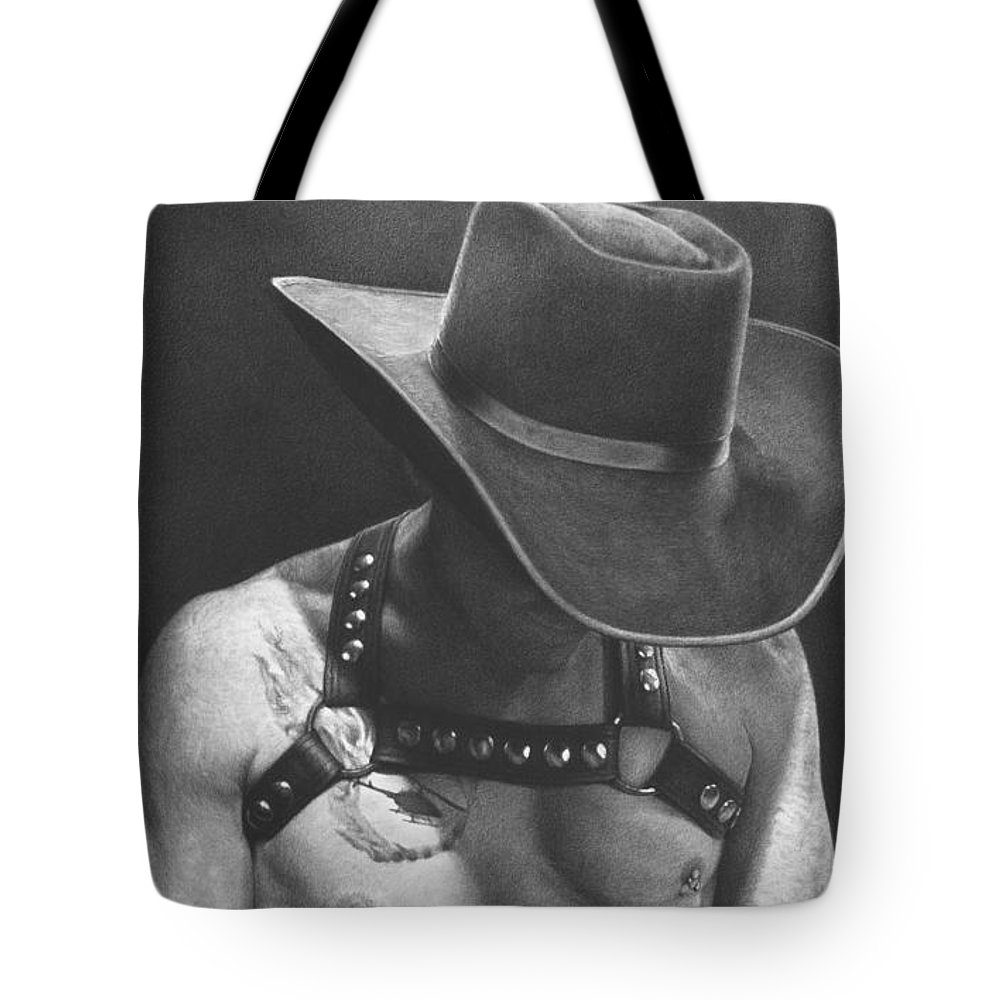 Gay Tote Bag featuring the drawing Cowboy Pilot by Maciel Cantelmo