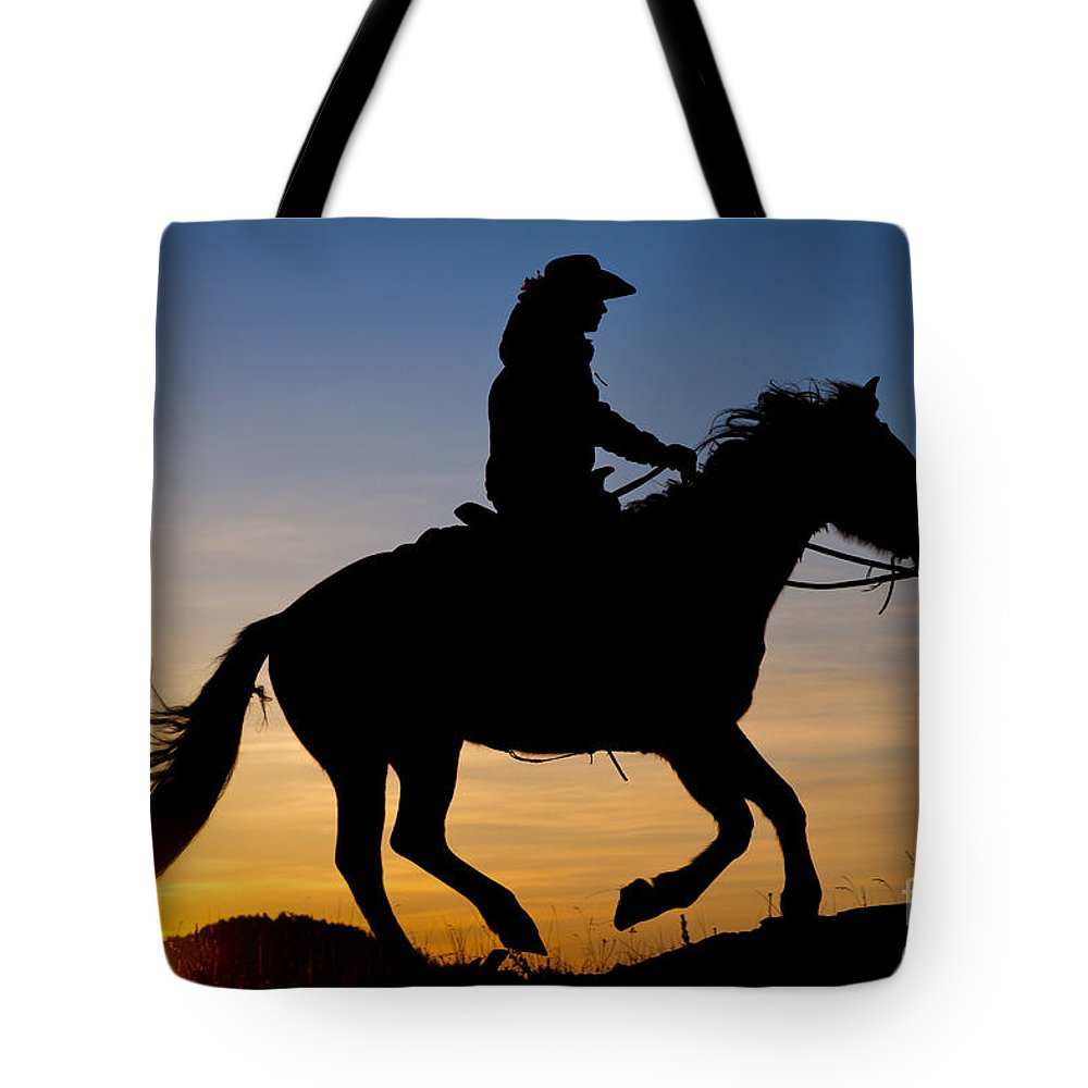 America Tote Bag featuring the photograph Cowgirl At Sunrise by Inge Johnsson