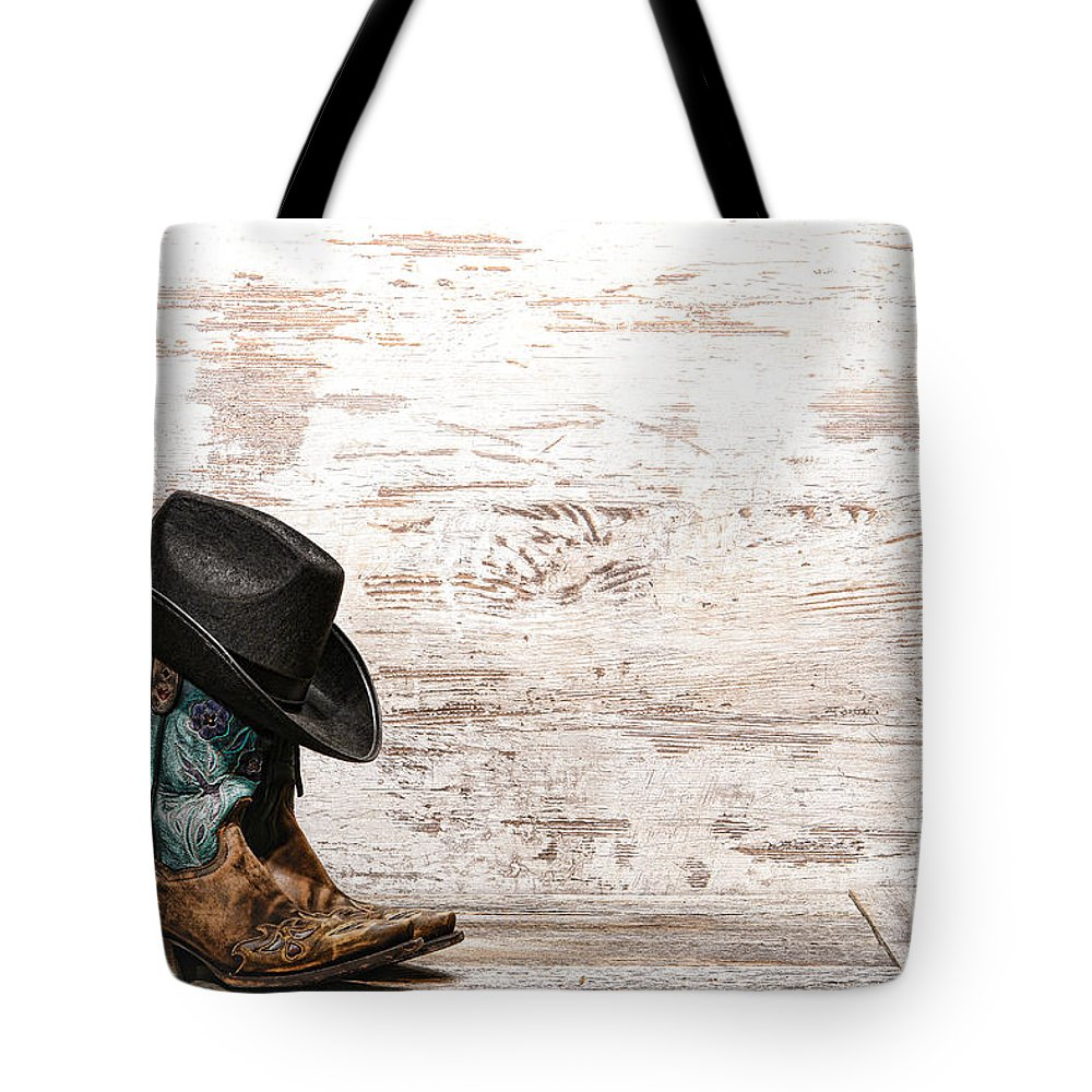 Cowgirl Tote Bag featuring the photograph Cowgirl Boots by Olivier Le Queinec