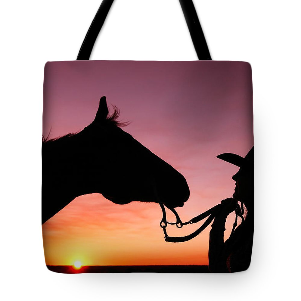 Cowgirl Tote Bag featuring the photograph Cowgirl Sunset by Todd Klassy