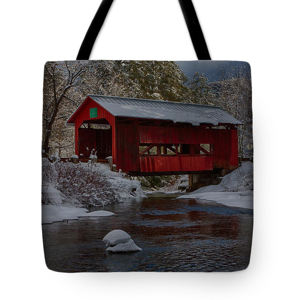 Covered Bridge Tote Bag featuring the photograph Cox Brook Runs Under Covered Bridge by Jeff Folger