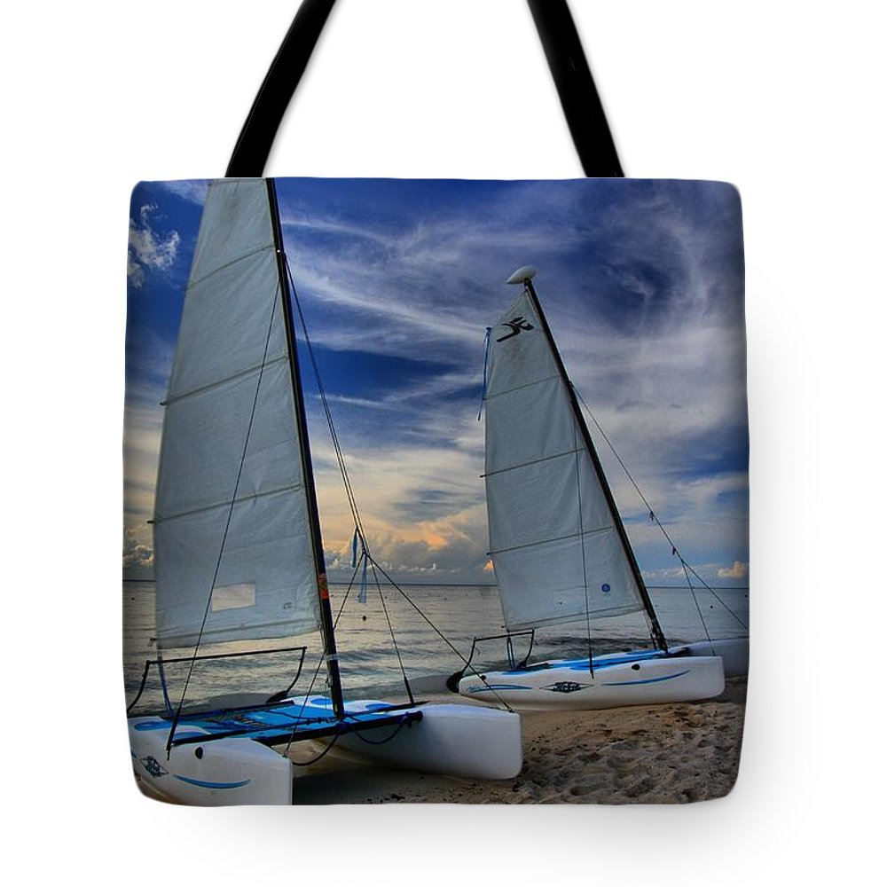 Caribbean Ocean Tote Bag featuring the photograph Cozumel Hobie Cats by Adam Jewell