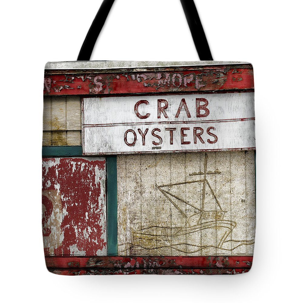 Crab Tote Bag featuring the photograph Crab And Oysters by Carol Leigh