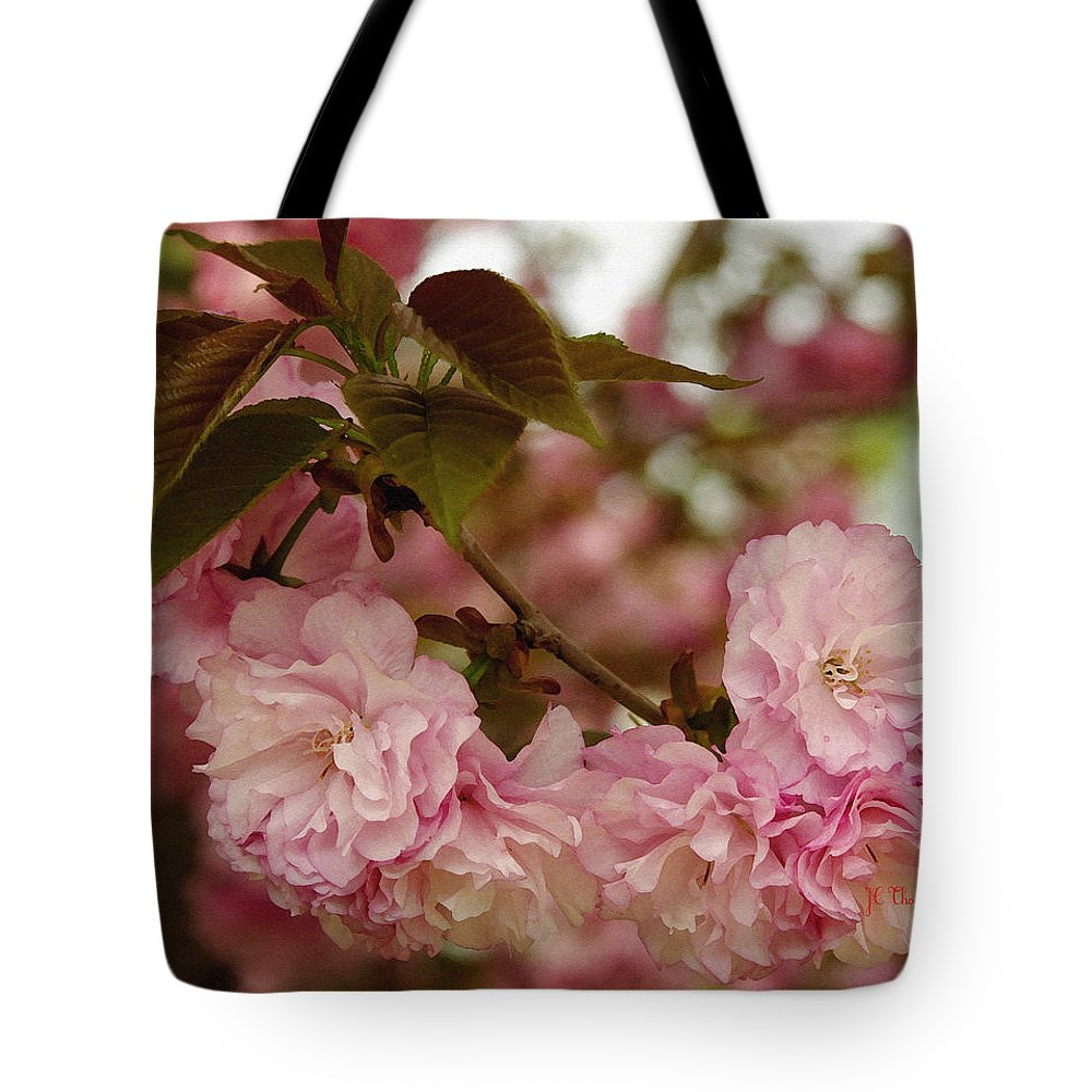 Crab Apple Tote Bag featuring the photograph Crab Apple Blossoms by James C Thomas