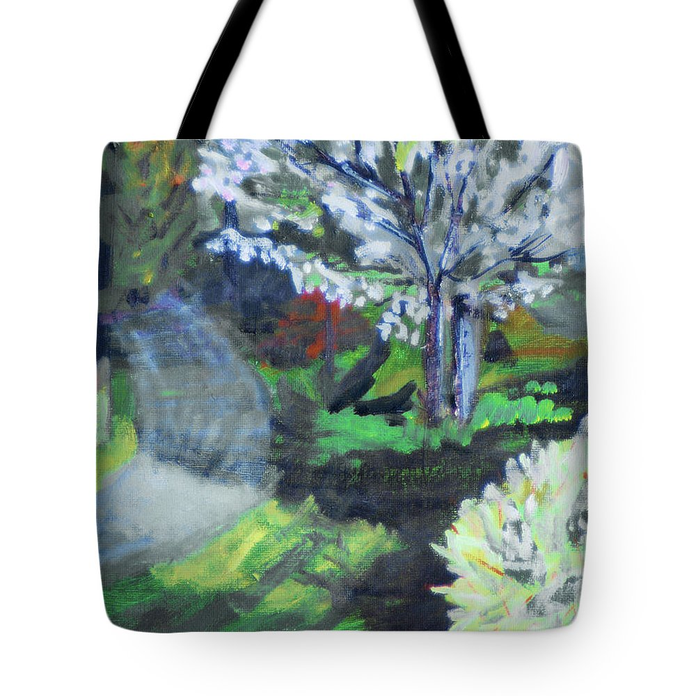 Tree Tote Bag featuring the painting Crab Apple Tree by Michael Daniels