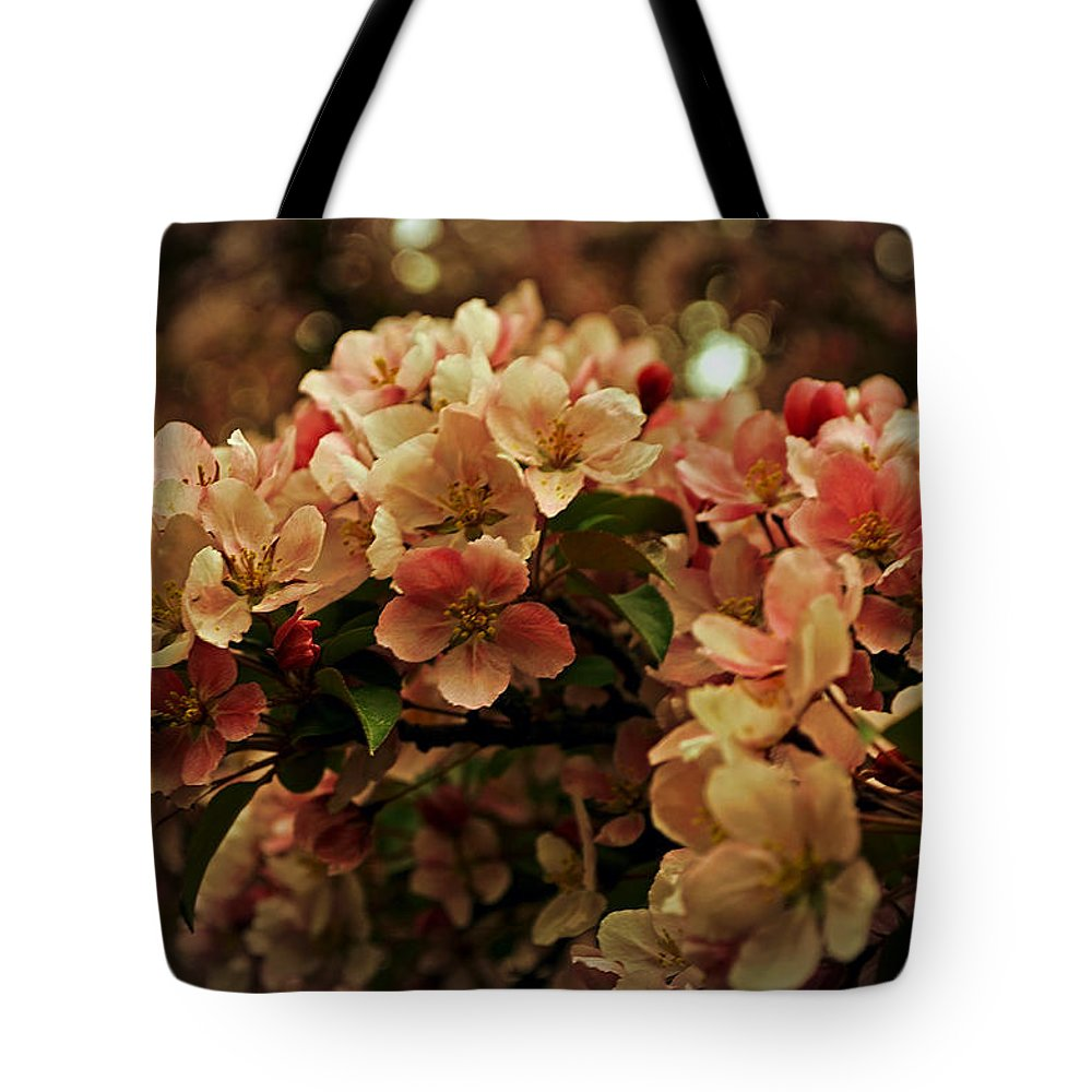 Crabapple In Bloom Tote Bag featuring the photograph Crabapple In Bloom by Mary Machare