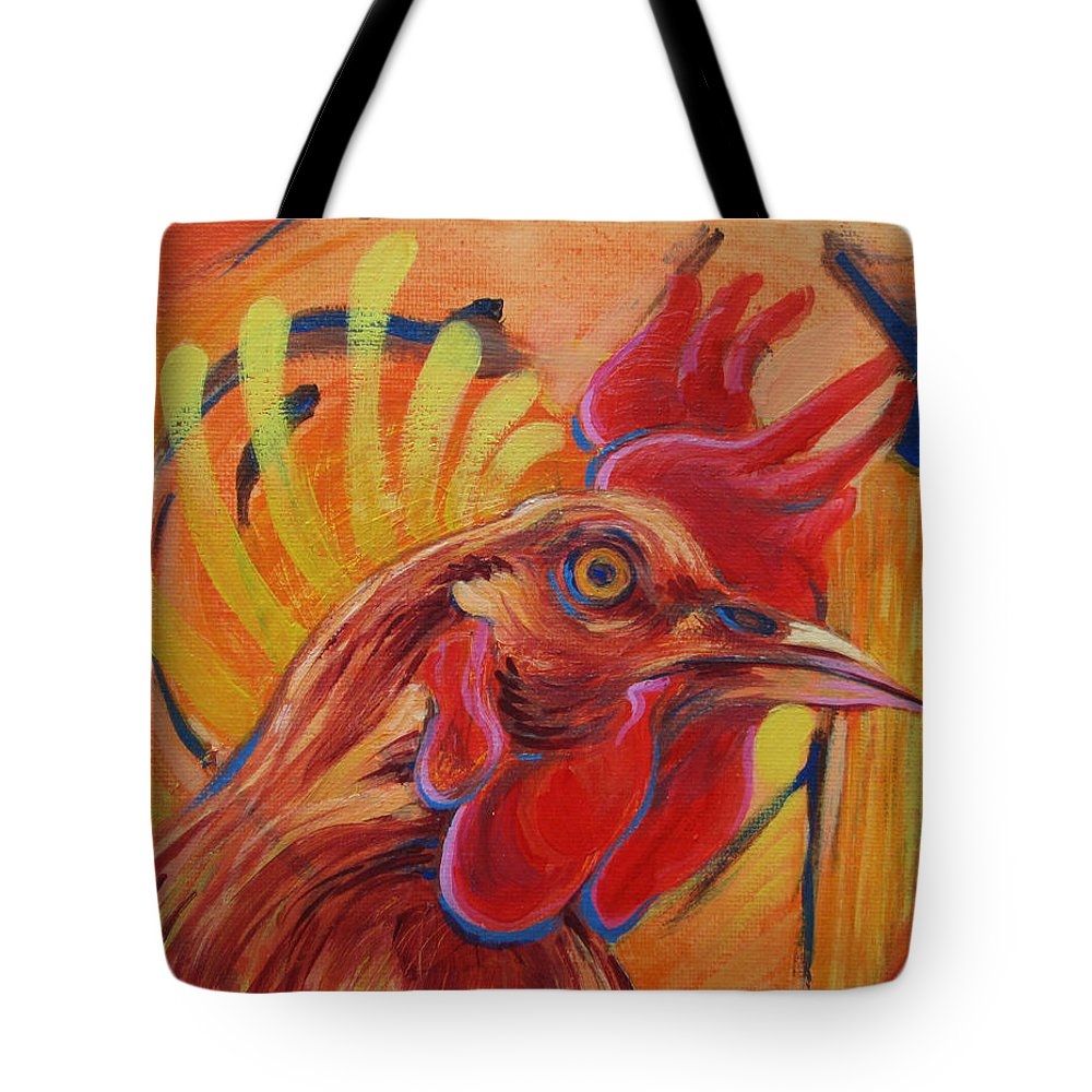 Chicken Tote Bag featuring the painting Crack Of Dawn by Jeff Seaberg