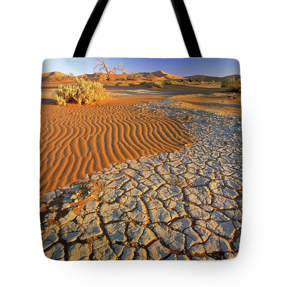 Fn Tote Bag featuring the photograph Cracking Dirt And Dunes Namib Desert by Winfried Wisniewski