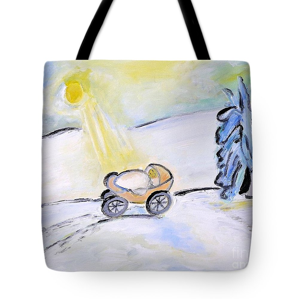 Baby Tote Bag featuring the painting Cradle by J Nell Bliss