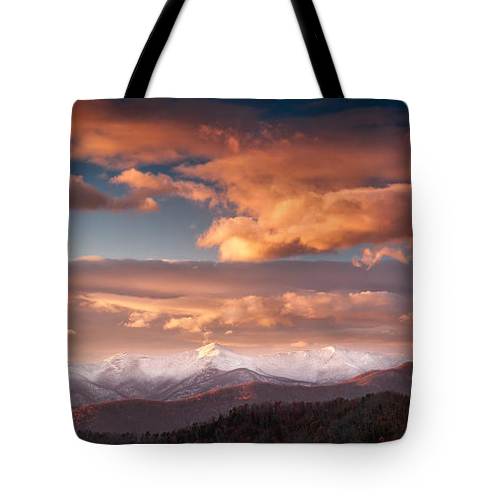 Asheville Tote Bag featuring the photograph Craggy Snow by Joye Ardyn Durham