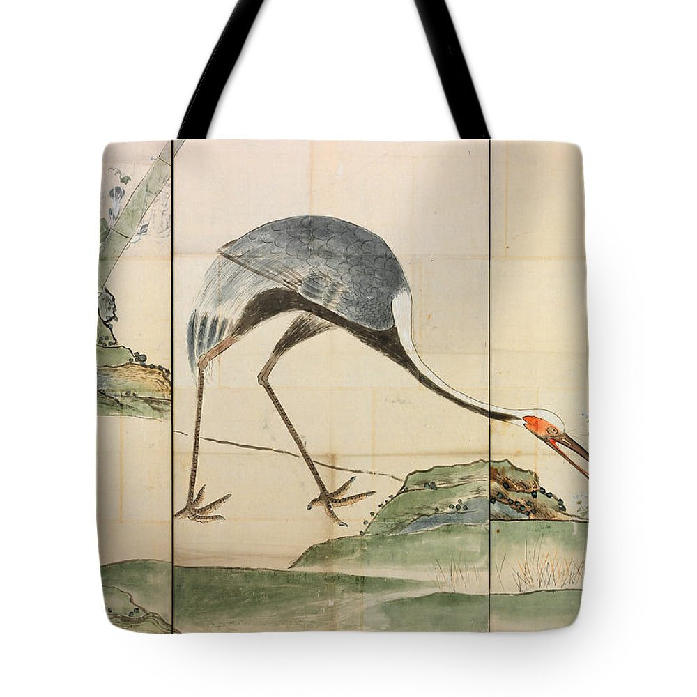 Ogata Korin Tote Bag featuring the painting Cranes Pines And Bamboo by Ogata Korin