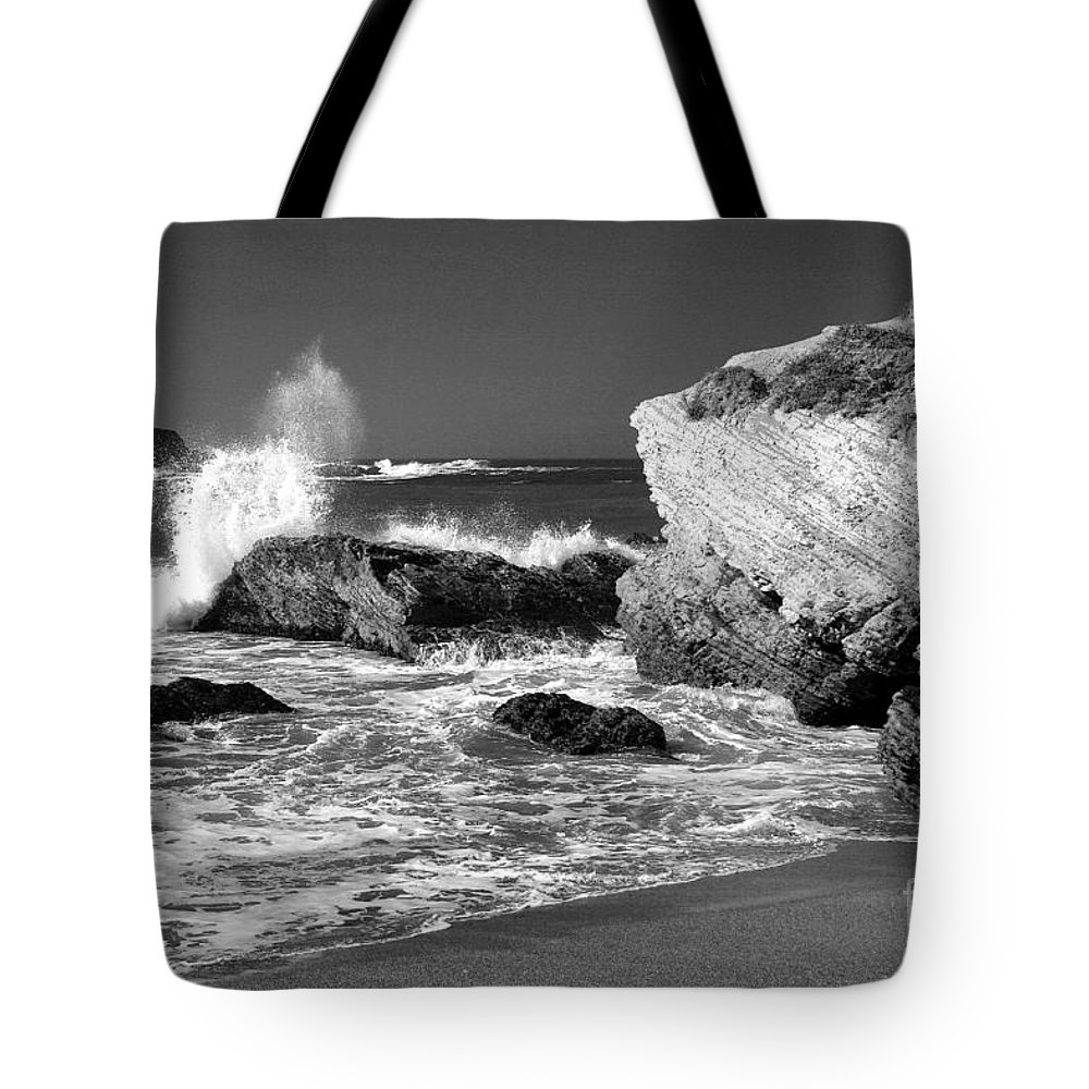 Timothy Hacker Tote Bag featuring the photograph Crashing Waves Bw by Timothy Hacker