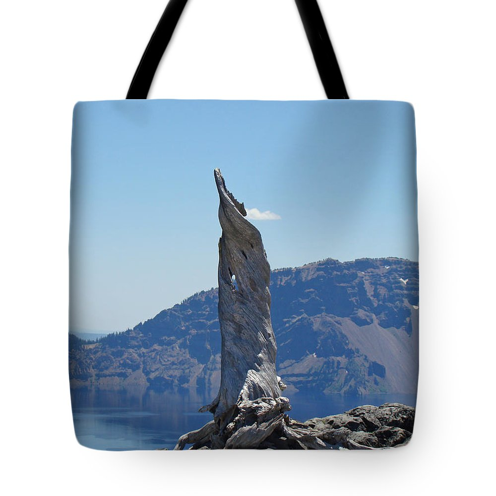 Lightning Tree Tote Bag featuring the photograph Crater Lake Lightning Tree Art Prints Blue by Baslee Troutman