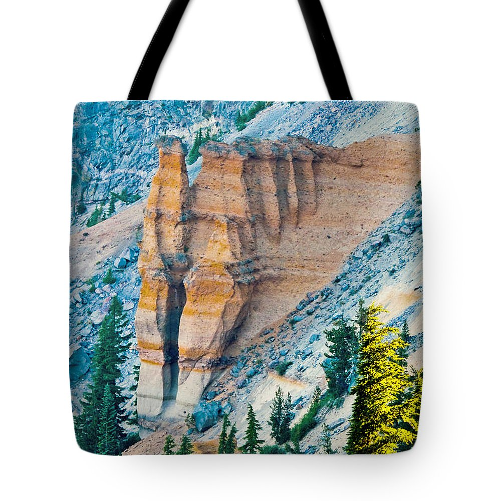 Pumice Castle Tote Bag featuring the photograph Crater Lake Pumice Castle by L J Oakes