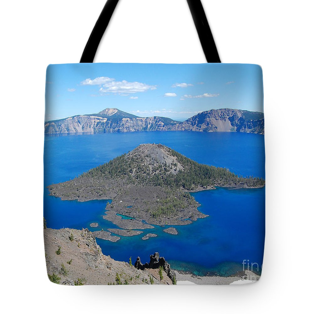 Crater Lake Tote Bag featuring the photograph Crater Lake Wizard Island by Debra Thompson