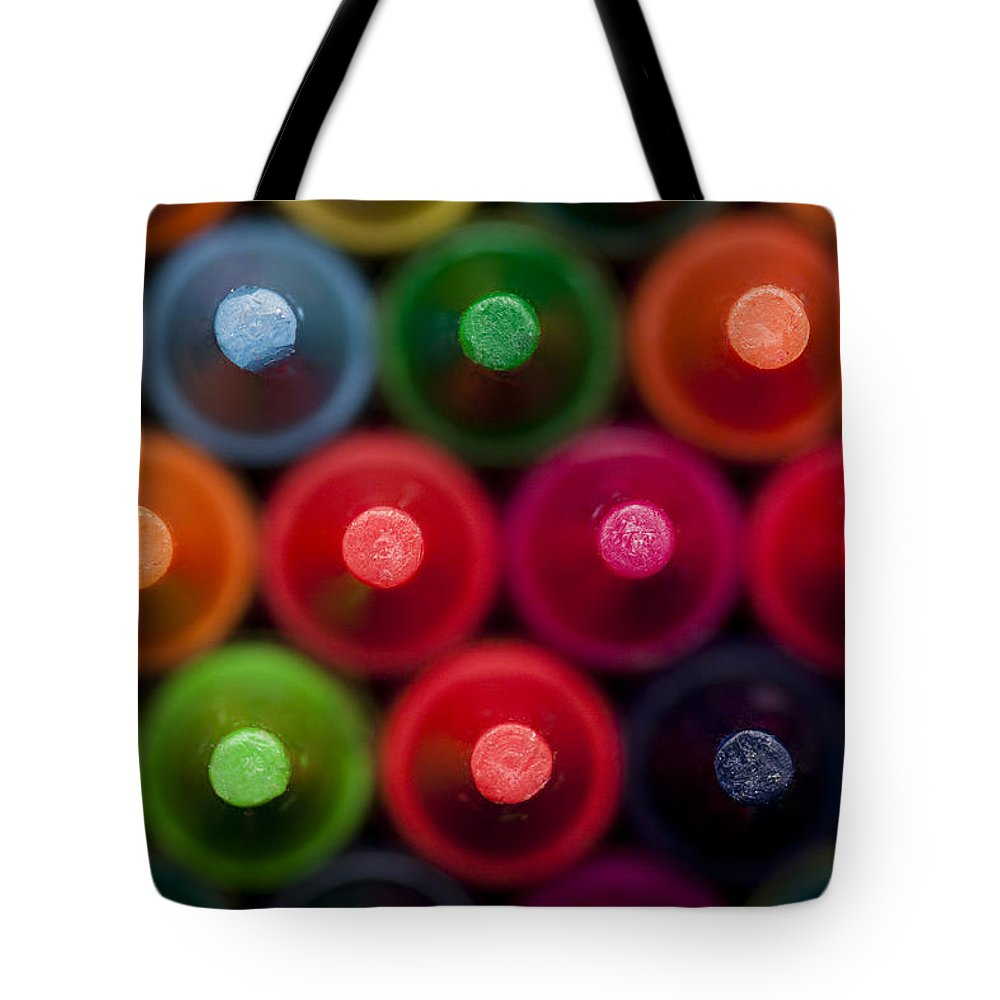 Drawing Tote Bag featuring the photograph Crayon Tips 1 A by John Brueske