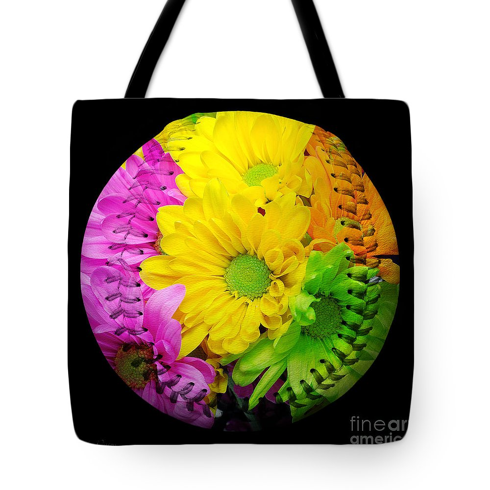 Andee Design Baseball Tote Bag featuring the photograph Crazy Daisies Baseball Square by Andee Design
