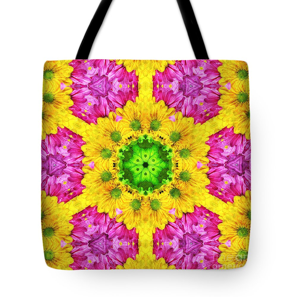 Abstract Tote Bag featuring the photograph Crazy Daises - Spring Flowers - Bouquet - Gerber Daisy Wanna Be - Kaleidoscope 1 by Andee Design