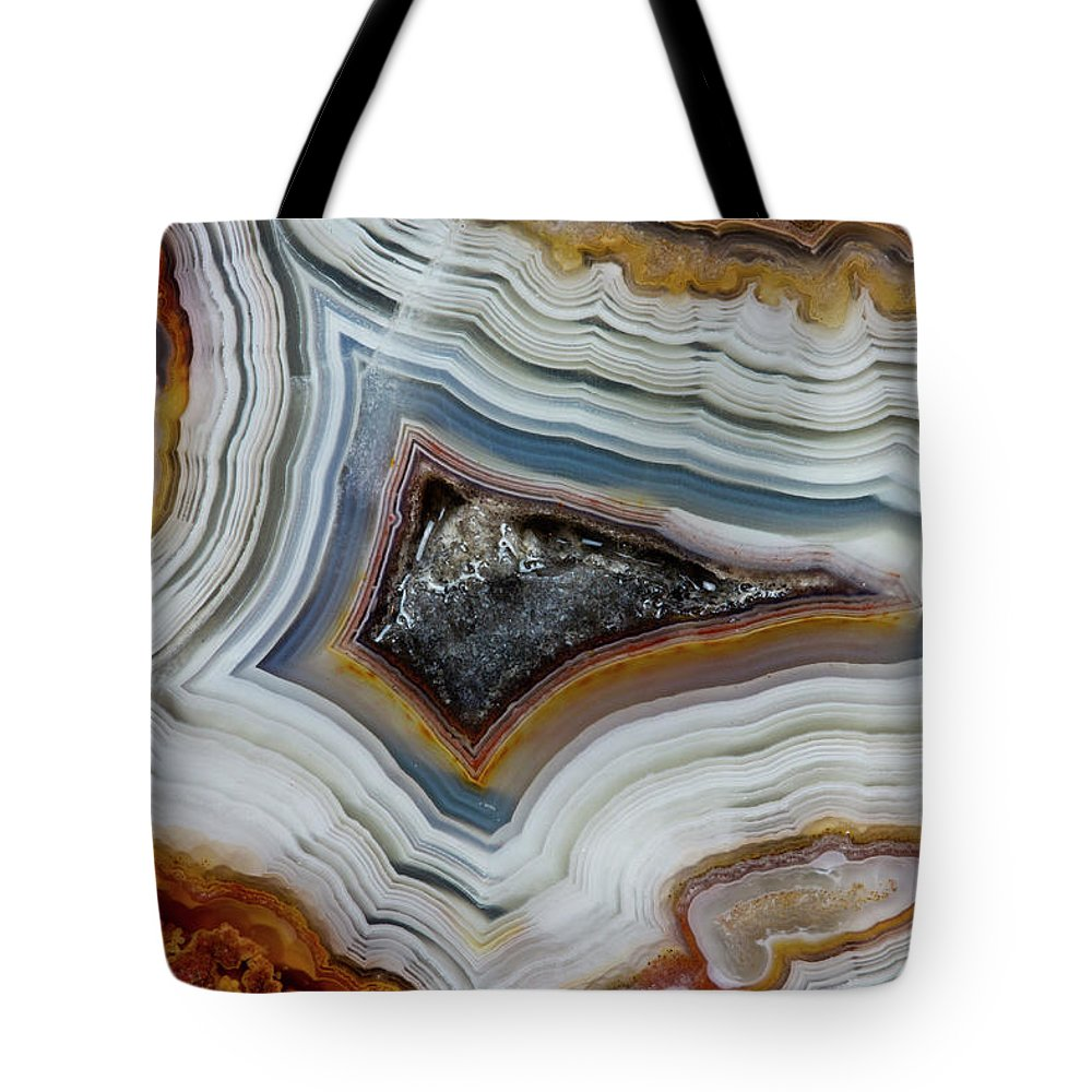 Mineral Tote Bag featuring the photograph Crazy-lace Agate From Mexico, Close-up by Darrell Gulin