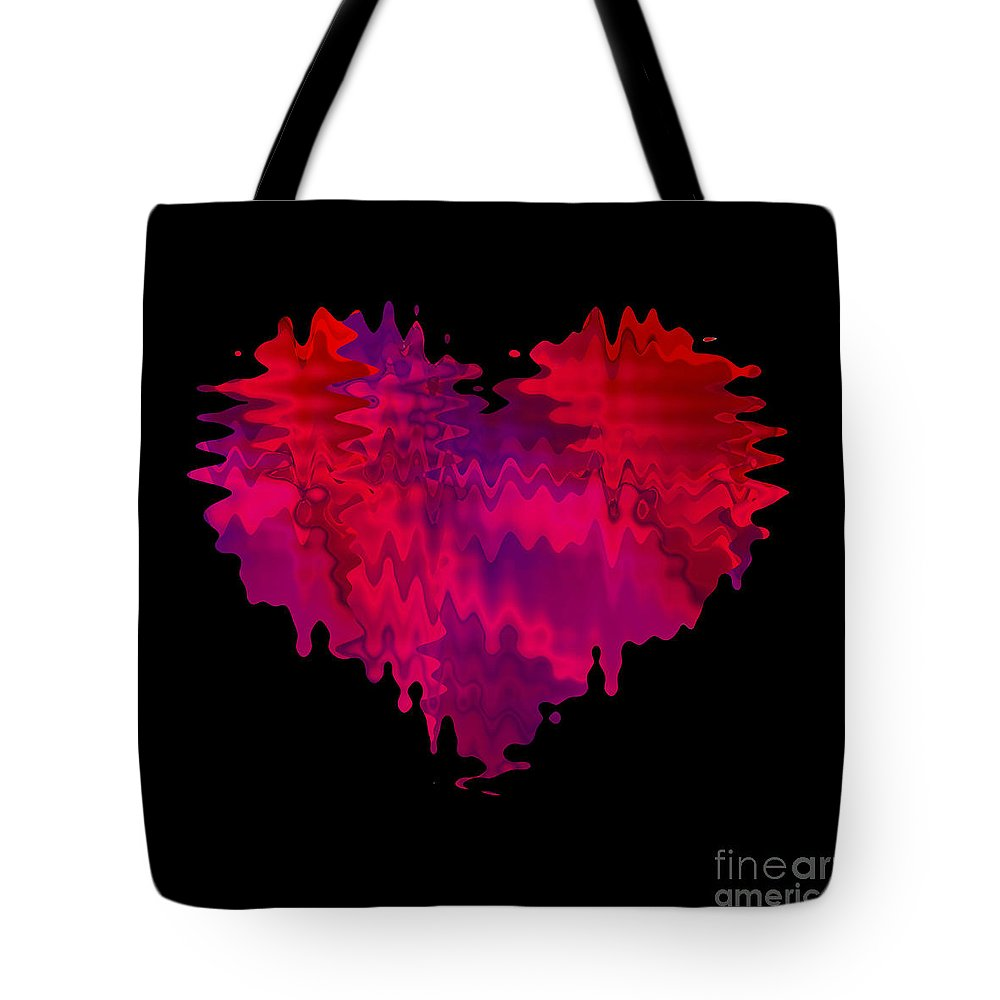 Red Heart Tote Bag featuring the digital art Crazy Love 2 by Kristi Kruse