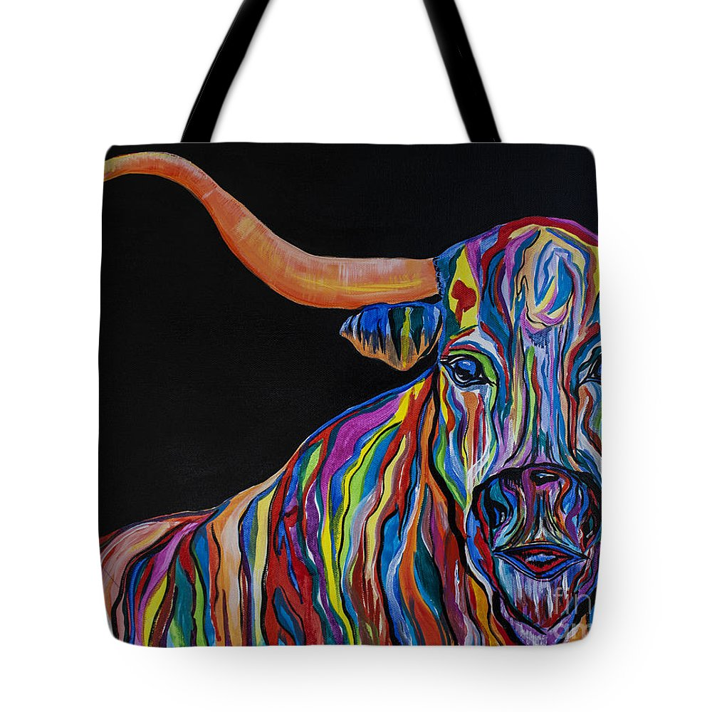 Bull Tote Bag featuring the painting Crazy Woman Bull by Janice Pariza