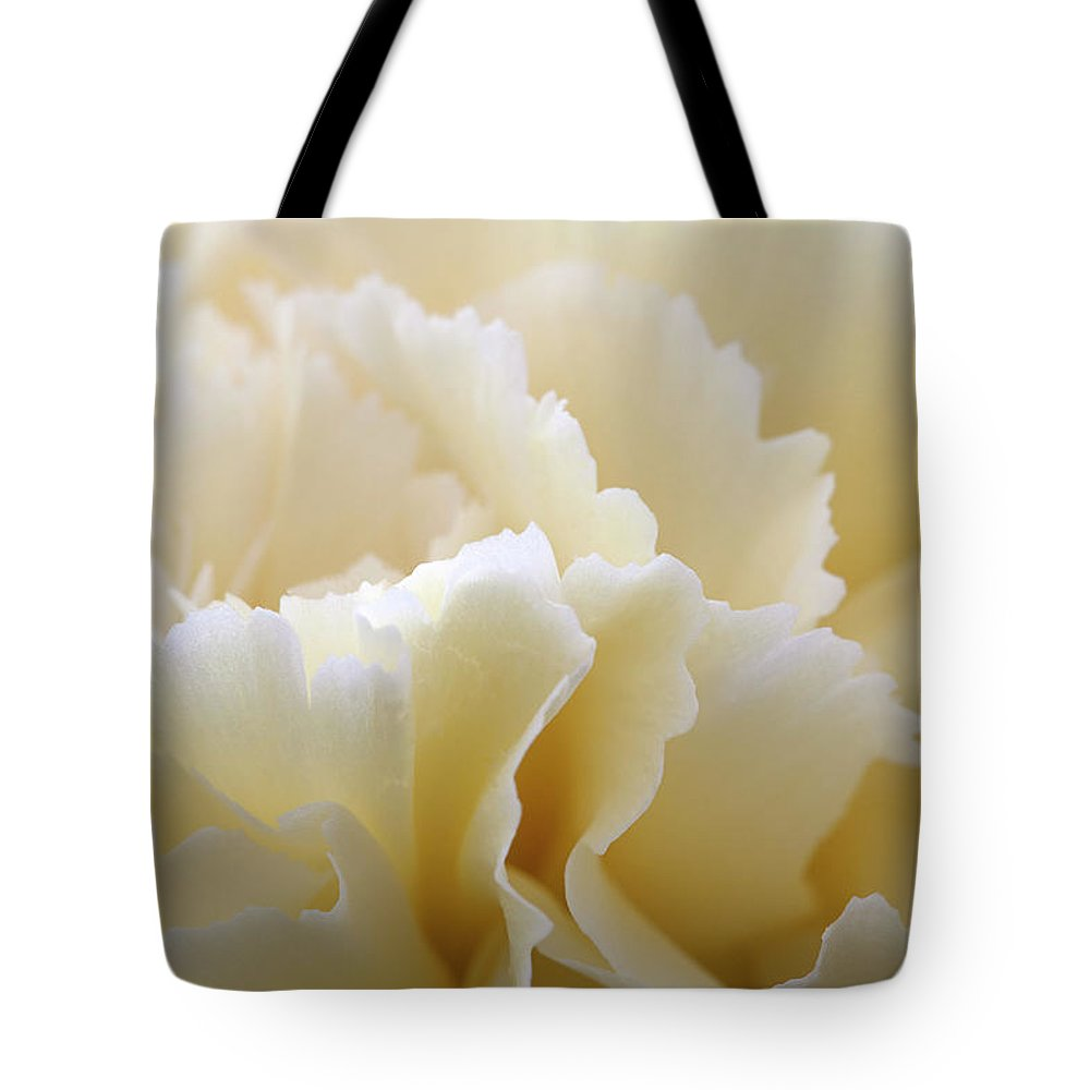 Netherlands Tote Bag featuring the photograph Cream Coloured Carnation, Close-up by Roel Meijer