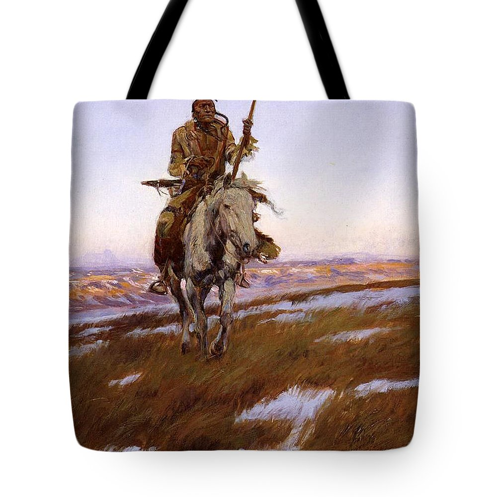 Charles Russell Tote Bag featuring the digital art Cree Indian by Charles Russell