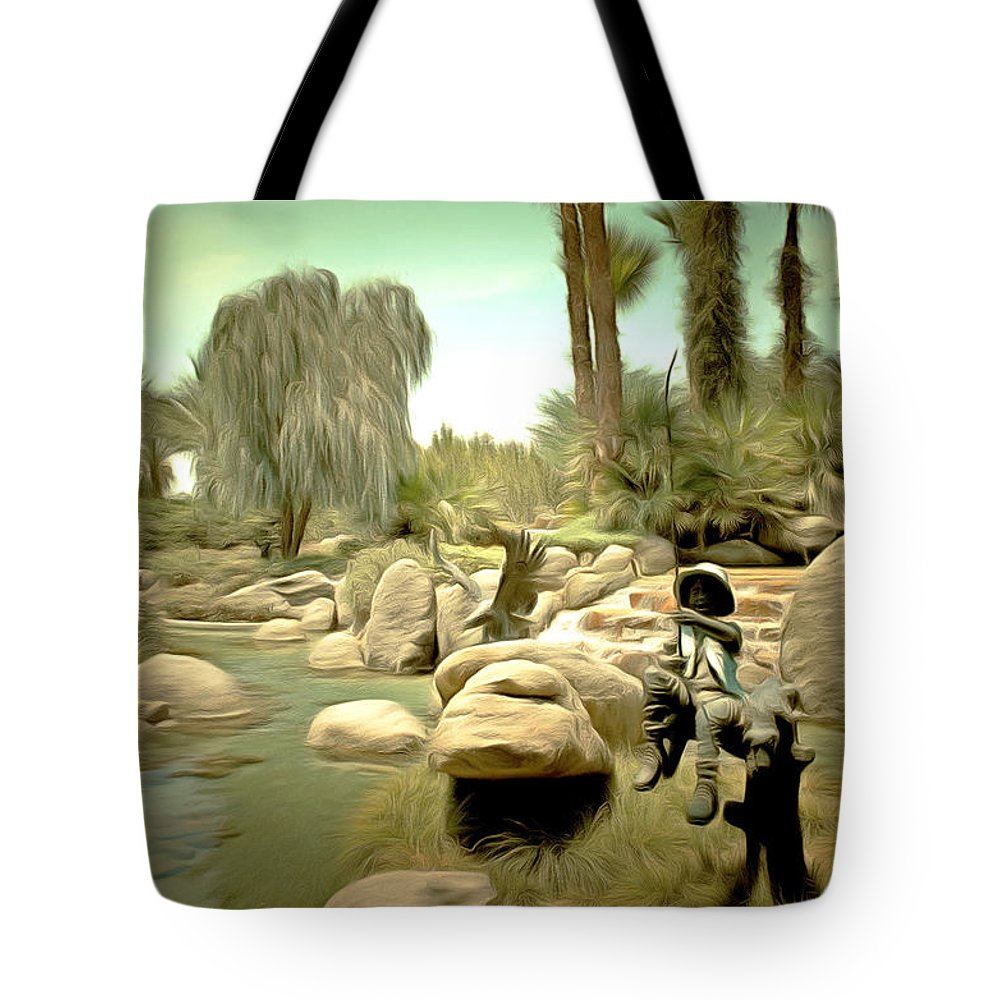 Barbara Snyder Tote Bag featuring the painting Creek At Jackalope Ranch Palm Springs by Barbara Snyder
