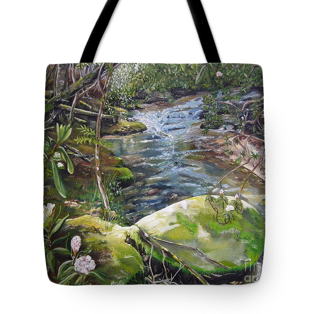 Rock Tote Bag featuring the painting Creek - Beyond The Rock - Mountaintown Creek by Jan Dappen