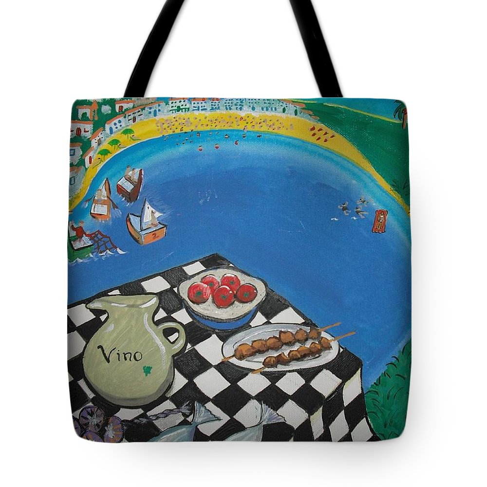 Landscape Tote Bag featuring the painting Crete by Michelle Deyna-Hayward