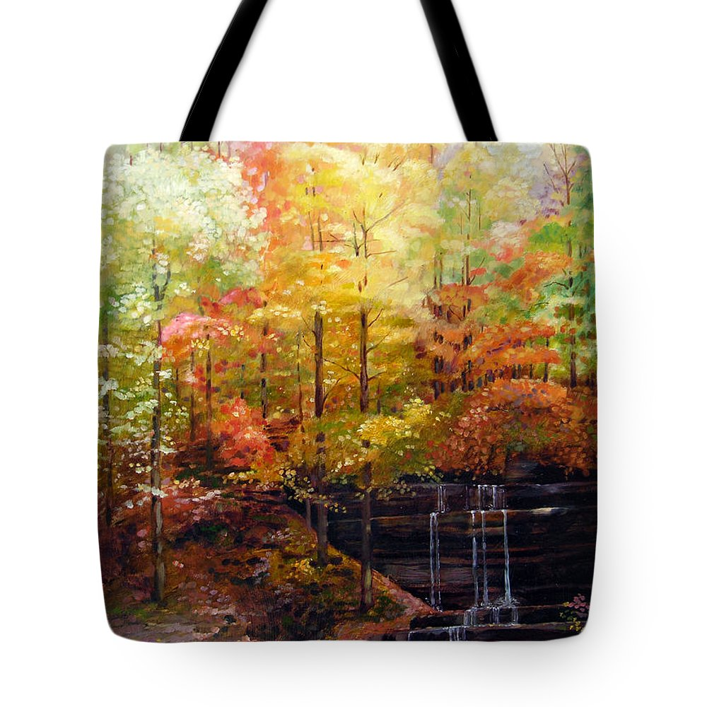Fall Trees Tote Bag featuring the painting Creve Coeur Park by John Lautermilch