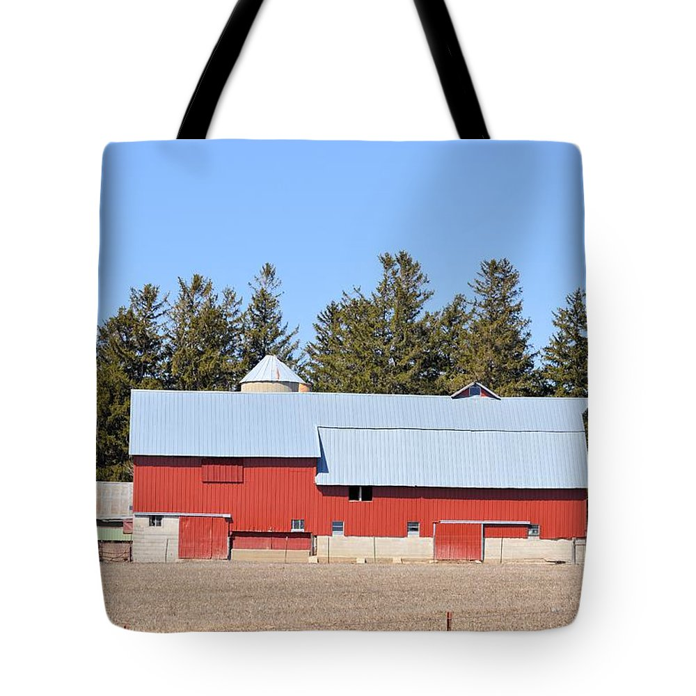 Amish Tote Bag featuring the photograph Crimson Barn by Bonfire Photography