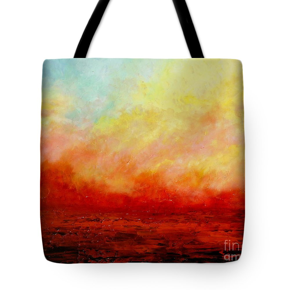 Palette Knife Tote Bag featuring the painting Crimson by Teresa Wegrzyn